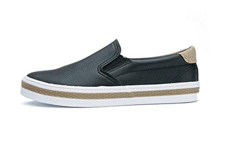 PU Zapatos Escuela 37 De Bottom Negro BLACK Confortable Simple Plano Ocio Compras Blanco Señora 39 Alumnos White Casual Zapatos XIE X7H5qPx5