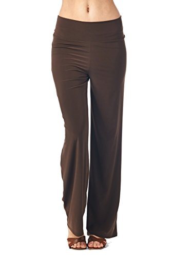 82 Days Women'S Poly Span Comfy Casual to Office Straight Pants - Brown S