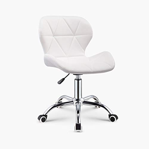 Adjustable Rolling Swivel Massage Stool for Salon Spa Tattoo Facial Medical Office Chairs with Backrest Wheels and Metal Plate Frame White (1 Pcs) (Color : White)