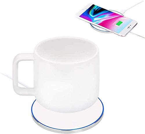 Smyidel Wireless Heating Coffee Mug Warmer Intelligent Constant Temperature about 122 50 for Home Office White
