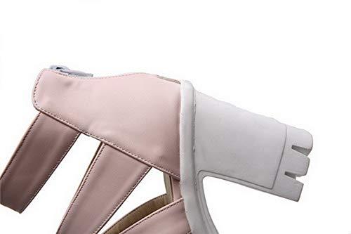 Unie Haut AalarDom TSFLH008071 à Rose d'orteil Couleur Sandales Femme Ouverture Talon qrAw0FHEAx