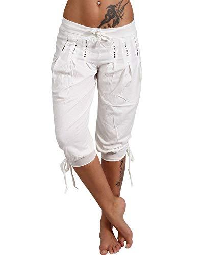 Waist Capri Adjustable - Pibilu Womens Elastic Waist Drawstring Cargo Capri Pants Summer Casual Baggy Trousers (White,S)