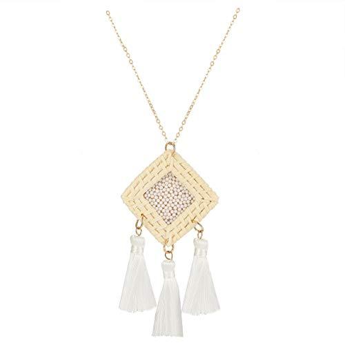 GLBCC Statement Tassel Necklace Handmade Rattan Drop Necklace Boho Beaded Y-Shape Pendant Long Chain Necklaces for Women (White)