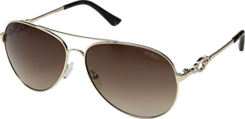 GUESS Women's GF6064 Shiny Gold/Brown Gradient Lens One ()