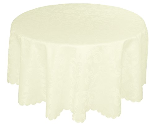 """EcoSol Designs Microfiber Damask Tablecloth, Wrinkle-Free & Stain Resistant (60"""" diameter, Round, Ivory) Foliate"""