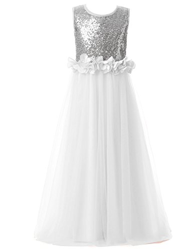 Belle House Girl's Long Tulle Flower Girl Dresses For Wedding White Silver Sequins Pageant Party Ball Gown For Teens