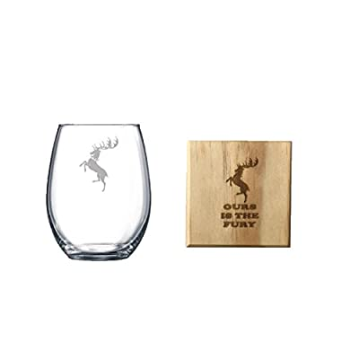 Etched House Baratheon Game of Thrones Stemless Wine Glass and Wooden Coaster Set (By Brindle Designs) Game of Thrones Wine Glass Gift Set