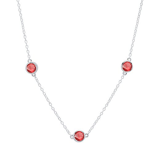 Dazzlingrock Collection 1.00 Carat (ctw) Sterling Silver Round Ruby Ladies Necklace 1 CT ()