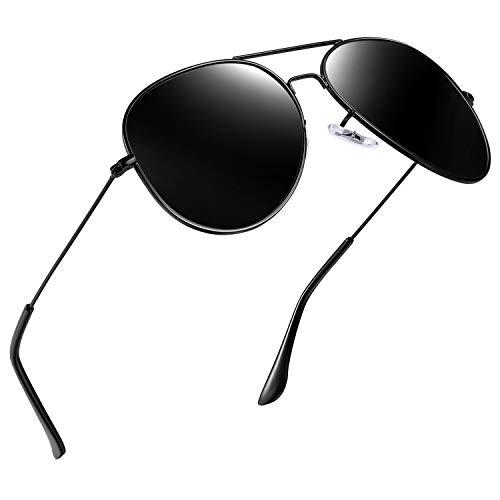 Joopin Classic Fashion Polarized Sunglasses Men Women Colorful Reflective Coating Lens Eyewear Sun Glasses(Black) ()