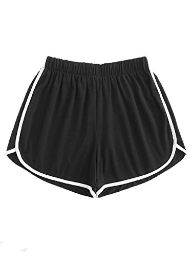 SweatyRocks Women's Running Active Shorts Gym Workout Yoga Casual Sport Short Pant Black M