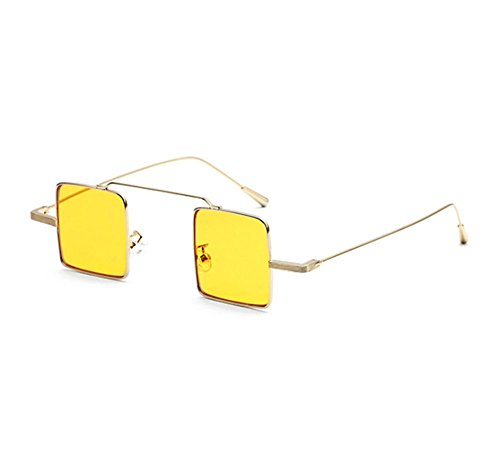 cuadradas metal Amarillo de de pequeño clásico hippy de retro marco Gafas sol estilo Gafas sol qfx6f7E