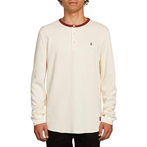 Volcom Men's Layer Stone Henley Crew Neck Long Sleeve Shirt, White Flash Small