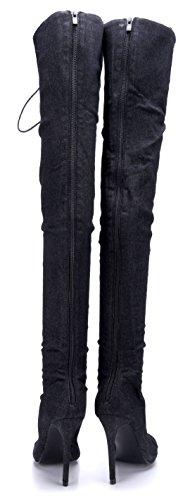 Schuhtempel24 Damen Schuhe Overknee Stiefel Stiefeletten Boots Stiletto 11 cm High Heels Schwarz