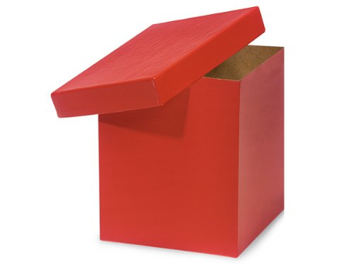 Pack of 50, Red Hi-Wall 8 x 8 x 9'' 100% Recycled Giftware Box Base Use Food Safe Barrier Like Food Grade Tissue or Cello for Food Packaging(Lids Sold Separately) by Generic