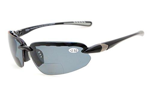 Eyekepper TR90 Unbreakable Sports Polycarbonate Polarized Bifocal Sunglasses Half Rimless Baseball Running Fishing Driving Golf Softball Hiking Black Frame Grey Lens - Driving Lenses Polarised For