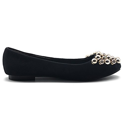 Ollio Womens Shoes Faux Suede Rhinestone Studs Ballet Flat Black QLWoN
