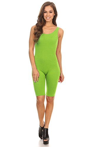 Women Sleeveless Stretch Skinny Solid Knee Length Sport Unitard Bodysuits Active (Small, Lime)