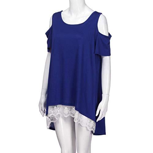 bleu col Manches Femme Solide Shirt Rond Courtes pour Tops d't AiBarle Off dcontract s Femme Blouse T Blanc paule wUvOAq