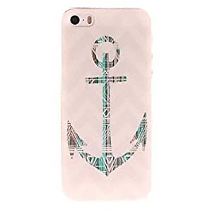 ZXSPACE Green Anchor and Stripes Pattern PC Hard Case for iPhone 5/5S