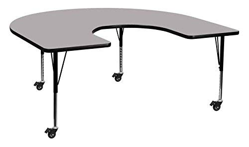 Flash Furniture Mobile 60''W x 66''L Horseshoe Grey Thermal Laminate Activity Table - Standard Height Adjustable Legs
