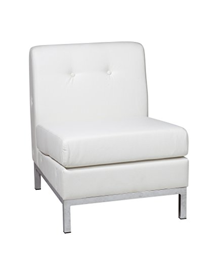 Work Smart/Ave Six Wall Street Armless Chair in White Faux Leather - York Lounge Chair