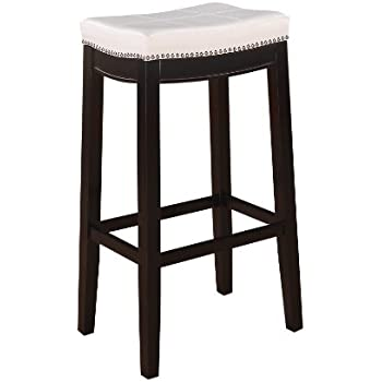 Amazon Com Linon Harper Stool Fabric Top Kitchen Amp Dining