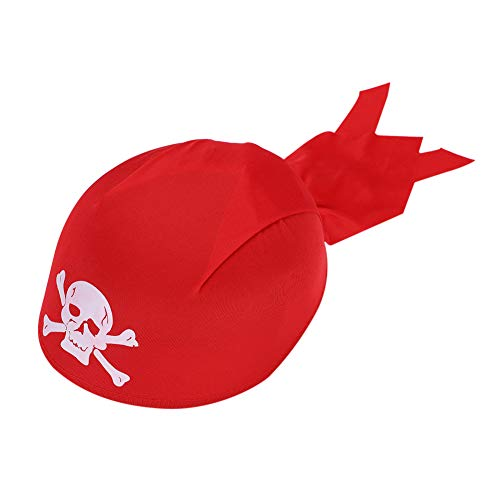 Pirate Scarf Hat Headwrap Bandana Halloween Captain's Beach Theme Party Crossbones Skull Head Cap Quick Dry Medieval Renaissance Beanie Headwear Motorcycle Turban Red