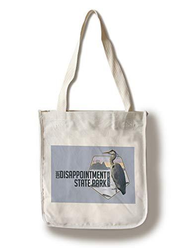(Lantern Press Cape Disappointment State Park, Washington - Heron and Foggy Shoreline - Contour (100% Cotton Tote Bag - Reusable))