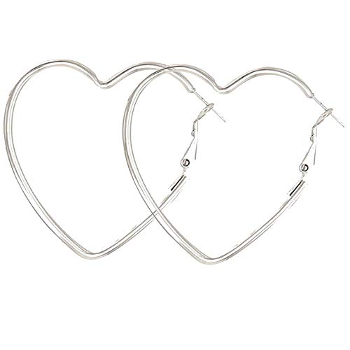 Cereza Women Stainless Steel Simple Geometric Heart Hoop Earring (Heart55Silver)