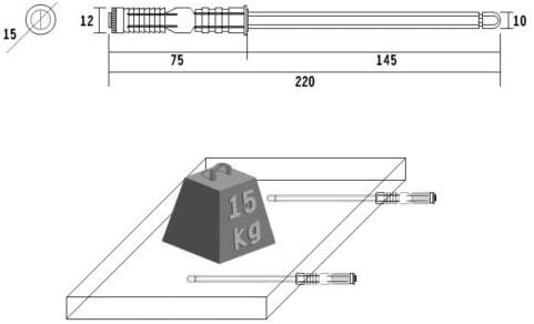 Regalbodentr/äger Tablartr/äger /Ø10x100mm 175mm in 4 Gr/ö/ßen ausw/ählbar