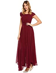 Zeagoo Women's Casual Cap Sleeve Ruched Chiffon Bridesmaid Maxi Dress