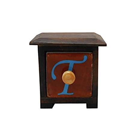 Metier Sheesham Wooden Chest with 1 Ceramic Drawers and Alphabet Print in The Middle. Storage Chests at amazon