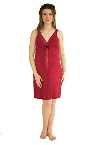 Belabumbum Maternity Chemise - Belabumbum Eva Maternity Nursing Chemise Nightgown - Garnet - X-Large