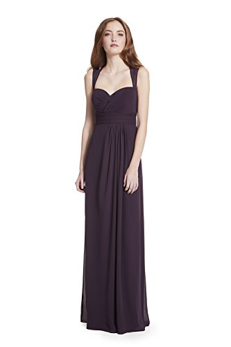 Samantha Paige Sweetheart Illusion Strap Back Pleated A-Line Chiffon Formal Dress,Plum,10 Keyhole Dress Plum