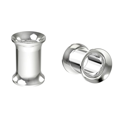 Bling Unique 2pc 2g Surgical Stainless Steel Tunnel Plugs 6mm Metal Gauges Earrings Flesh Expander Double (Flared Earring)