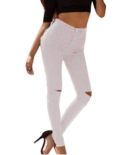 Strappato Skinny Bianca Ginocchio Legging Pantaloni Alta A Jeans Donna Delle Vita Donne 5PExq66A