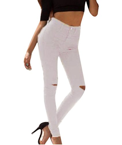Femmes Skinny Taille Haute Denim Jeans Dchirs Pantalon Stretch Slim Crayon Jeans Pants Jeggings Collants Blanc