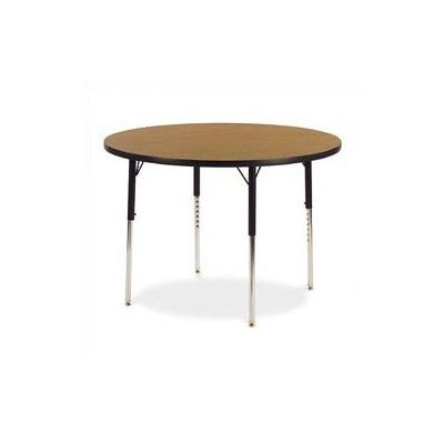 """4000 Series 36"""" Round Classroom Table Color: Medium Oak, Glides: Steel Glides Included"""