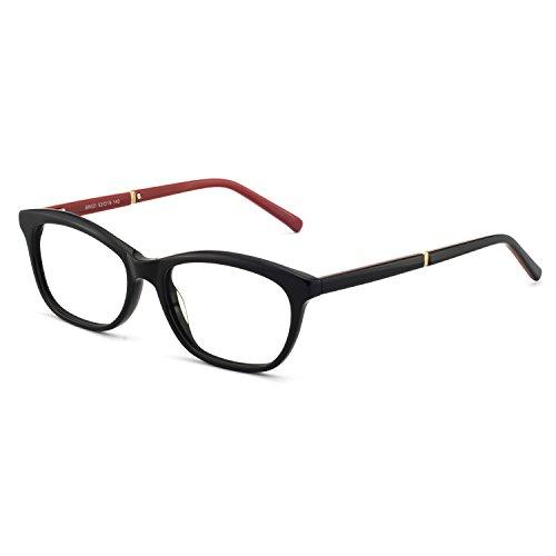 OCCI CHIARI Womens Rectangle Stylish Eyewear Frame Non-Prescription Clear Eyeglasses (B-Black/Red(Anti-Blue ()