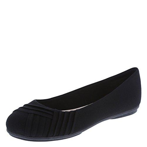 Black Fabric Womens Shoes - Lower East Side Women's Black Women's Bree Pleated Flat 7.5 Wide