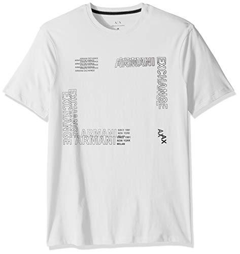 A|X Armani Exchange Men's Short Sleeve Crew Neck Sqaure Graphic T-Shirt, White, XXL ()