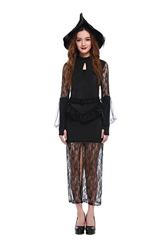 [Honeystore Women's Classic Lace Witch Fancy Dress Costume with Hat] (Good Witch And Bad Witch Costumes)