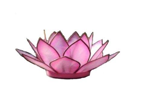 Om Gallery Capiz Shell Lotus Tea Light Holder, Flamingo (Pink Flamingo Candle Holder)