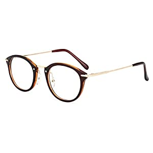 ROYAL GIRL Small Round Circle Glasses Women Metal Frame Clear Lens Classic Vintage Eyeglasses (Brown Frame, 46)