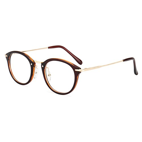 ROYAL GIRL Small Round Circle Glasses Women Metal Frame Clear Lens Classic Vintage Eyeglasses (Brown Frame, - Glass Frame Face Round For