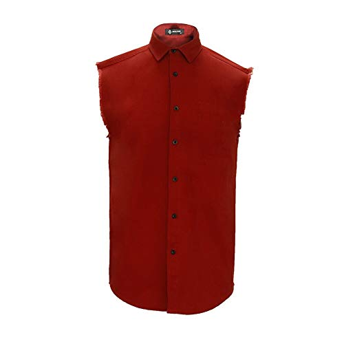 MCULIVOD Men's Denim Cotton Sleeveless Shirt Biker Vest with Shirts Front Pocket Red