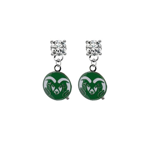 (Colorado State Rams Clear Crystal Stud Post Dangle Earrings)