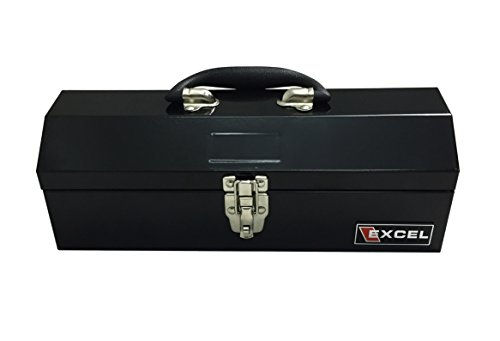Excel TB109-Black 14-Inch Portable Steel Tool Box, Black