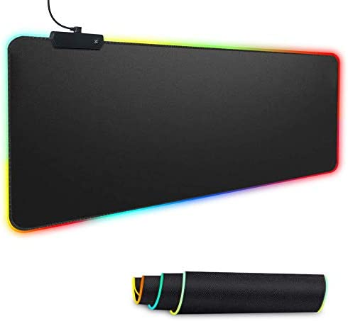 tyhxqf Large RGB Gaming Mouse Pad -14 Modes Oversized Glowing Led Extended Mousepad, Anti-Slip Rubber Base and Waterproof Surface, Extra Large Soft Led Computer Keyboard Mouse Mat - 31.5 x 11.8in