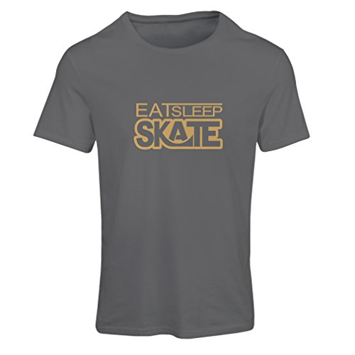T Shirts for Women Eat Sleep Skate - for Skaters, Skate Longboard, Skateboard Gifts (Small Graphite Gold)